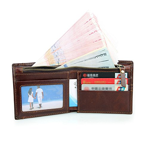 Herren Geldbörse, Modesty RFID-Schutz Geldbeutel Scheintasche Portemonnaie Geldbeutel Echte Leder-Geldbörse für Männer mit Kartenhalter, Börse, Geschenk-Box - QB004