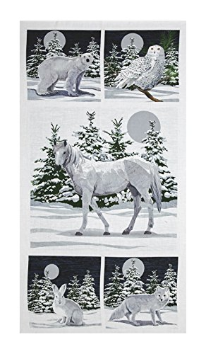 Andover Winter Moons Digital 24in Panel Light Blue Fabric - Light Arctic Blue Apparel