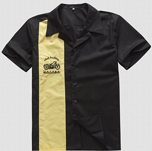 Candow look black yellow button up work shirt motorcycle 1950s vintage design, XL