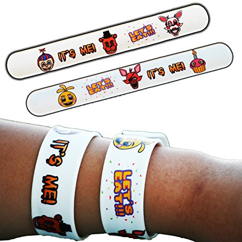 6 Pack - FNAF Five Nights at Freddy's Birthday Party Decorations Supplies Goody Loot Bag Favors Slap Bracelets Jewelry - Freddy Fazbear Baby Chica Cupcake Foxy the Pirate Mangle Balloon Boy -