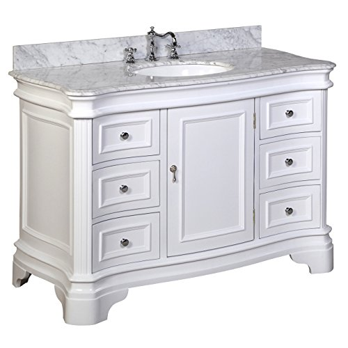 Kitchen Bath Collection KBC-A48WTCARR Katherine Bathroom Vanity with Marble Countertop, Cabinet with Soft Close Function and Undermount Ceramic Sink, Carrara/White, 48