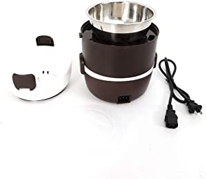 110V 200W 2L 3 Layers Electric Warmer Lunch Box Steamer Pot Rice Cooker, Fruit Soup Food Storage Container,Portable Bento Rice Cooker with Stainless Steel Bowls and Egg Steaming Rack (Brown)