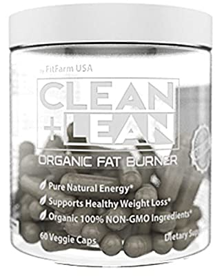 """CLEAN + LEAN -ORGANIC FAT BURNER by FitFarm USA - Worlds First Organic Fat Burner Supports Healthy Weight Loss with 100% Organic Non-Gmo Ingredients! Gluten Free & Vegan 60 Caps- """"Feel the Clean"""""""