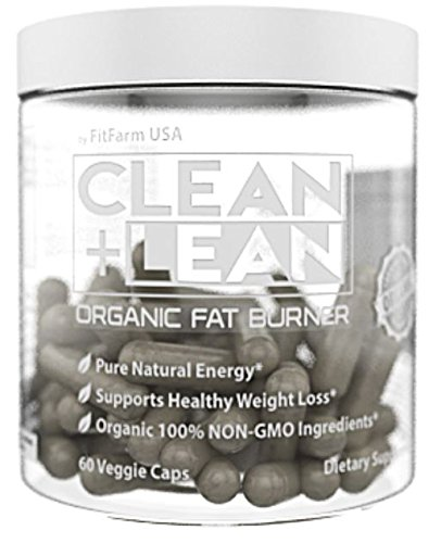 "CLEAN + LEAN -ORGANIC FAT BURNER by FitFarm USA - Worlds First Organic Fat Burner Supports Healthy Weight Loss with 100% Organic Non-Gmo Ingredients! Gluten Free & Vegan 60 Caps- ""Feel the Clean"""