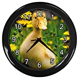 Baby Duck Black Frame Novelty Animal Wall Clock
