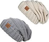 H-6100-2-6076 Oversized Beanie Bundle - Beige & Dove Grey (2 Pack)