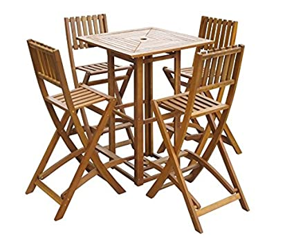Stupendous Garden Bar Set Outdoor Patio Furniture 4 2 Stools Chairs Tall Folding Wooden Dining Table Counter High Pub Bbq Cocteil Seat Pool Solid Wood Seating Machost Co Dining Chair Design Ideas Machostcouk