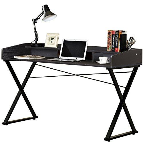 DlandHome 55'' Large Computer Desk, Composite Wood Board & Metal Frame, Home Office Multi-Functional Storage Roll Top Desk/Workstation/ Table, D11-140B Black, 1 Pack by DlandHome