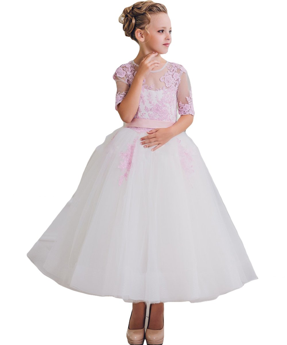Newdeve Ball Gown Flower Girls Dresses Princess Wedding Birthday Gown (13, White)