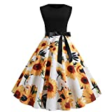 Women Vintage 1950s Retro Hepburn Dress Rockabilly Prom Dresses Cap-Sleeve Cocktail Party Swing Dress (M, White 2)