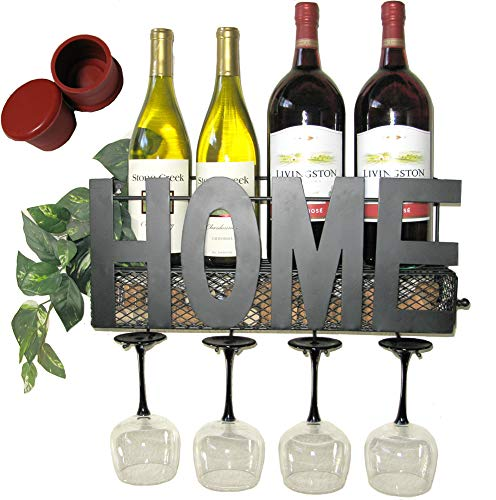 Wall Mounted Wine Rack | Rustic Wall Decor | Hand Crafted | Bottle & Glass Holder | Cork Storage | Free Silicone Wine Stopper Gift | Home Wall Decor | Beverage Storage Rack