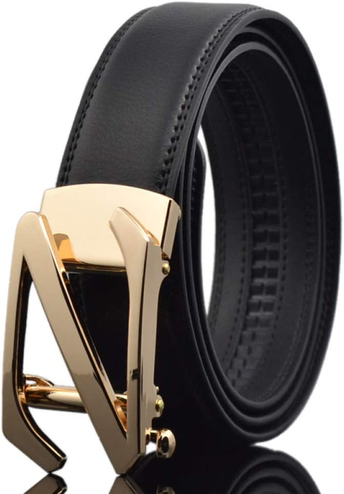 DENGDAI Mens Belt Automatic Buckle Belt Leather Belt Length 100-135cm