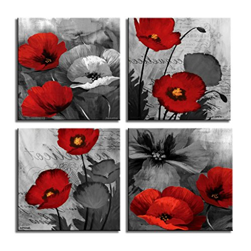LKY ART Red Wall Art Elegant Poppy Red Flower Wall Art Plant Abstract Art Poppy Canvas Wall Art Painting Picture For Living Room Wall Decor Wood Frame Stretched Easy To Hang 4 Panel 12x12x4 by LKY ART