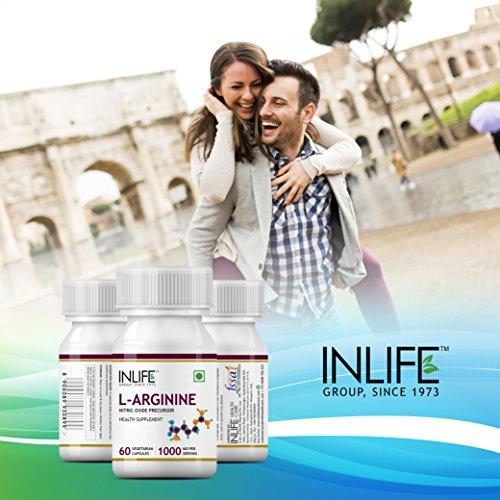 Inlife L-Arginine Nitric Oxide Precursor 1000Mg Supplement - 60 Vegetarian Capsules