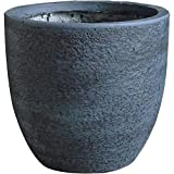 Outdoor Pot Planter Round Made of Clay, Stone and Synthetic Materials in Dark Gray Finish