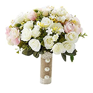 USIX Handmade Natural Looking Artificial Satin Rose Rosa Blossom Classic Picture-Perfect Wedding Bouquet Bridal Holding Bridesmaid Throw Bouquet Wedding Flower Arrangements 43