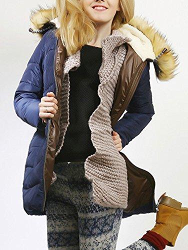 BN BININBOX® Damen Wintermantel Winterjacke Steppjacke mit Fellkapuzen Mantel Parka Leicht Lang Blau 5b0zH1BJB