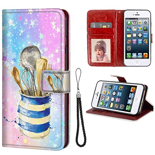 Kitchenware Wallet Case Fit for iPhone SE & iPhone 5 & iPhone 5S (5.5 Inch) Flip