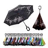 Spar. Saa Double Layer Inverted Umbrella with C-Shaped Handle, Anti-UV Waterproof Windproof Straight Umbrella for Car Rain Outdoor Use (Sakura)