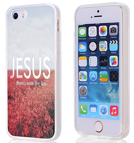 Case For Iphone 5S,Hungo Compatible Soft Tpu Silicone Protective Cover Case Replacement For Iphone SE/5S/5 Christian Quotes Bible Verses Jesus There Is None Like You
