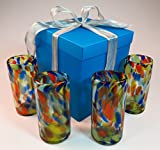 Mexican glasses, confetti swirl with gift box, hand blown from Mexico, 18 oz