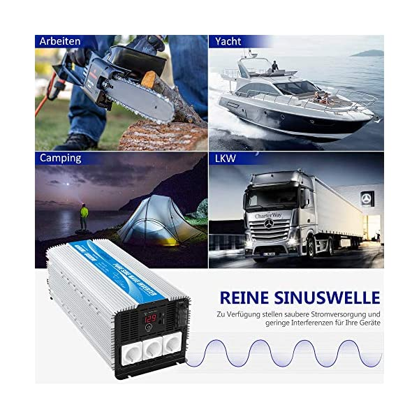 51RarvcbGlL 3000W Wechselrichter 12V auf 230V Reiner Sinus Spannungswandler Umwandler-Inverter Konverter mit Fernbedienung LED…