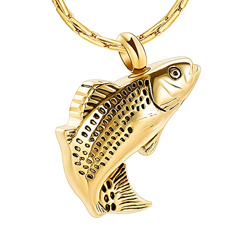 constanlife Cremation Jewelry for Ashes Stainless Steel Fish Shape Design Memorial Urn Necklace Keepsake Jewelry Gift Men Women Multifunction Necklace (Gold)