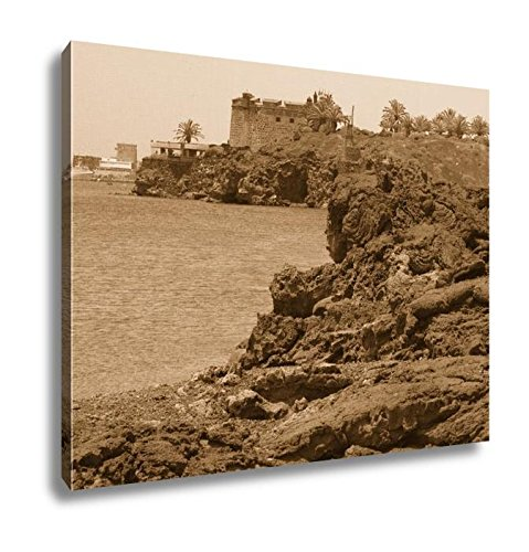 Ashley Canvas Stiffened Lava On Coast Of Sea Gulf Arrecife Lanzarote Spain, Home Office, Ready to Hang, Sepia 20x25, AG6536218 by Ashley Canvas