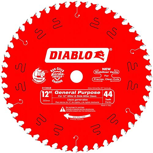 - Freud D1244X Diablo 12-Inch 44 Tooth ATB General Purpose Miter Saw Blade with 1-Inch Arbor (2 Pack)