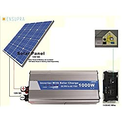 Solar Power Inverter with Built-in Solar Controller,PWM;1000 Watts,12VDC to 110VAC Modified sinewave;Plug & Play Solar;Simply Connect 12V Solar Panel & a Battery (ESI12V1K)