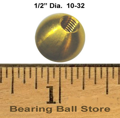 221 1/2'' dia. threaded 10-32 brass balls drilled tapped lamp finials by Bearing Ball Store