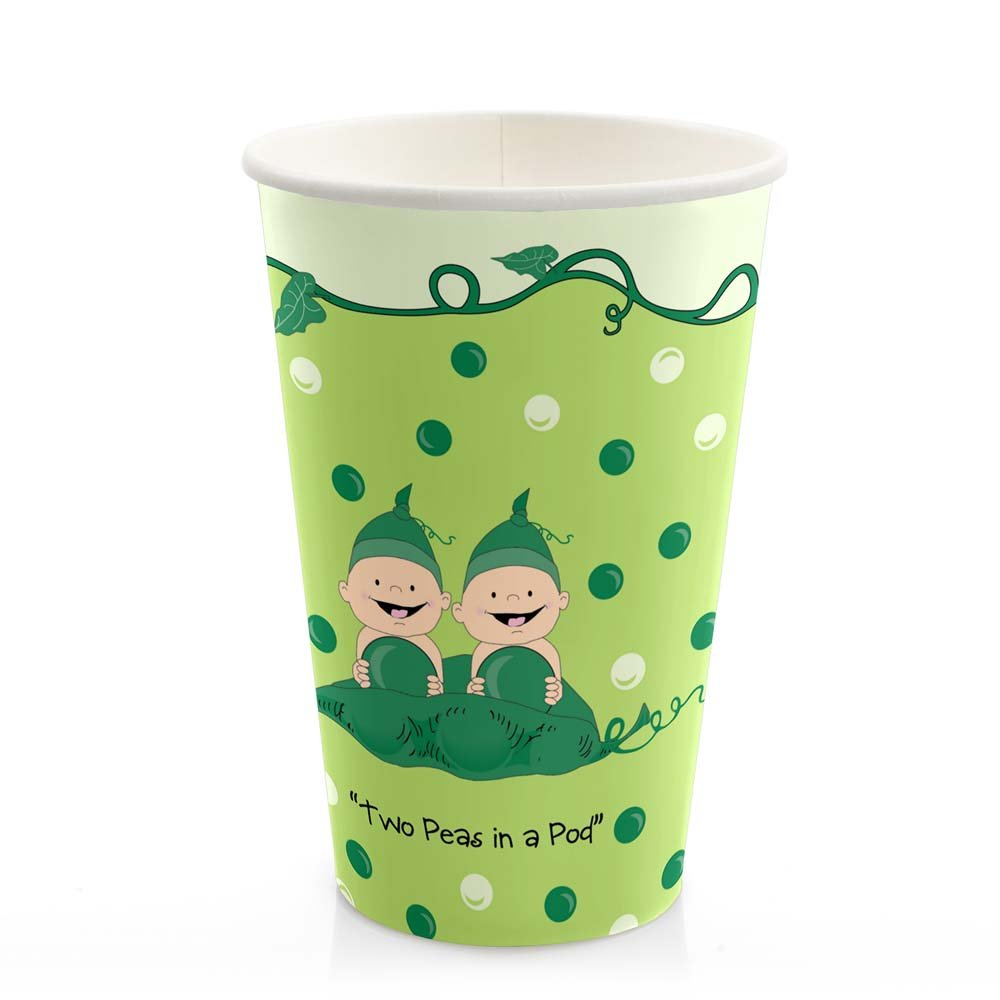 Big Dot of Happiness Twins Two Peas in a Pod - Baby Shower or Birthday Party Tableware Plates, Cups, Napkins Bundle for 16