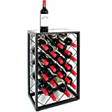 23 Bottle Wine Rack with Glass Table Top, Black