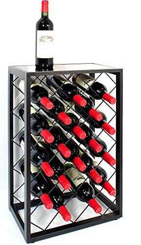Mango Steam 23 Bottle Wine Rack with Glass Table Top, (Metal Wine Rack)
