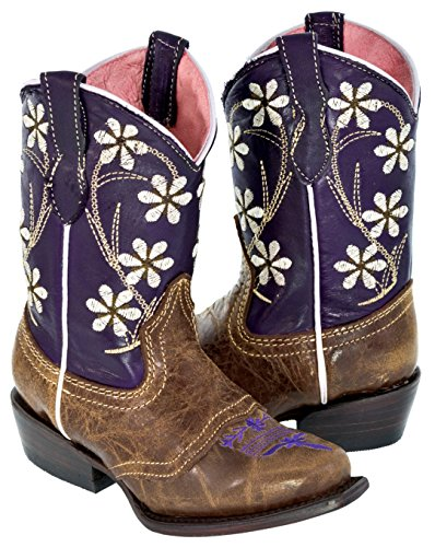 Veretta Boots - Girl's Purple & Brown Kids Floral Leather Cowgirl Boots Snip 13 Youth (Boots Youth Cowgirl For Girls)