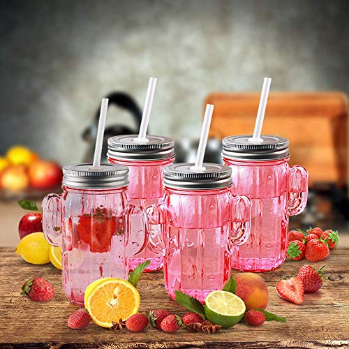 Circleware 06367 Huge Set of 12 Mason Jars Drinking Glasses with Metal Lids and Hard Straws Glassware for Water Beer and Kitchen & Home Decor Bar Dining Beverage Gifts, 15.5 oz, Pink Cactus-12pc by Circleware (Image #3)