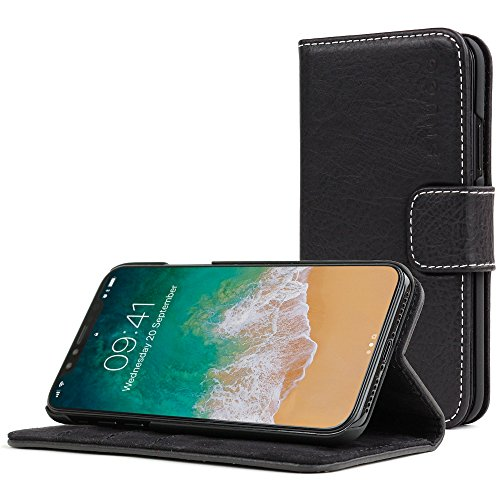 (Snugg iPhone XR Case, Blackest-Black Leather Flip Case [Card Slots] Executive Apple iPhone XR Wallet Case Cover and Stand Legacy Series (iPhone XR, Blackest Black))