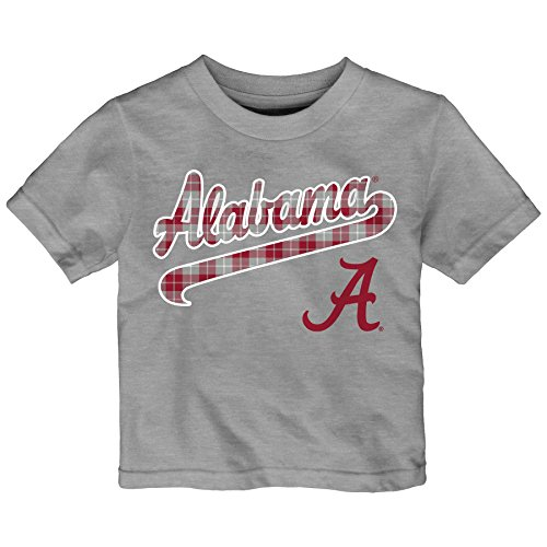 NCAA Alabama Crimson Tide Toddler Flannel Script Short Sleeve Tee, 4T, Heather Grey