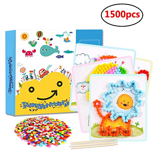 DIY Pom Poms Crafts Art Kit 1500pcs Balls with 8 Art Cards for Kids Colorful Craft for Girls Boys by DIY-fashion