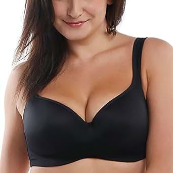 La Isla Women's Full Coverage Wide Strap Underwire Balconette T-Shirt Bra Black 34B