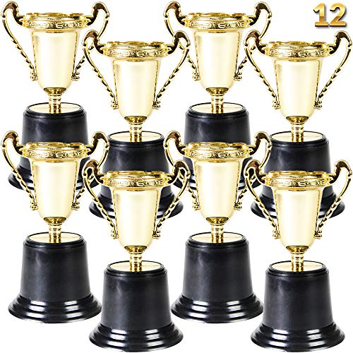 Gold Award Trophy Cups - Pack of 12 Bulk - 5 Inch Plastic Gold Trophies for Party Favors, Props, Rewards, Winning Prizes, Competitions for Kids and Adults by Bedwina ()