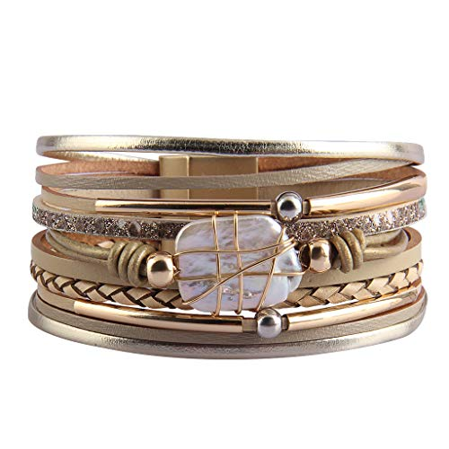 Jenia Leather Cuff Bracelet Baroque Pearl Multi Strand Wrap Bracelets Bohemian Bracelet with Magnetic Clasp for Women, Girls, -