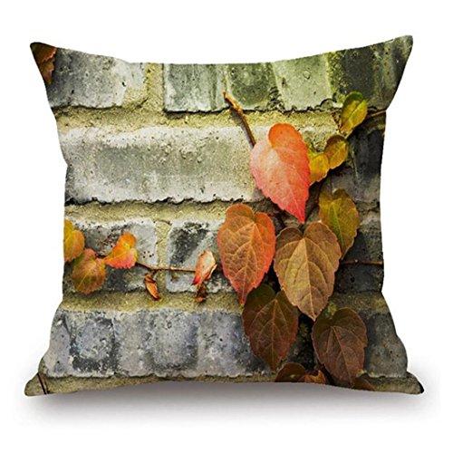 Xiting Woodgrain And Rock Stones Print Linen Sofa Pillowcase Home Decor (C)