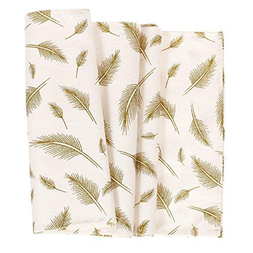 ling's moment Glitter Gold Leaves Pattern Bohemian Table Runner 12 x 72 Inches, 100% (Leaves Runner)