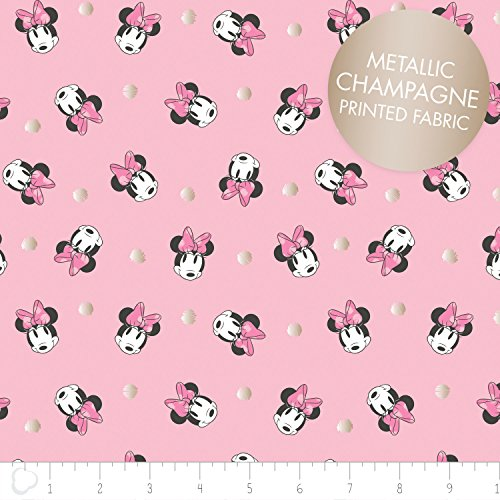 Disney Minnie Mouse Fabric Face Dot in Pink with Champagne Metallic Print 100% Cotton by the Yard Minnie Mouse Fabric