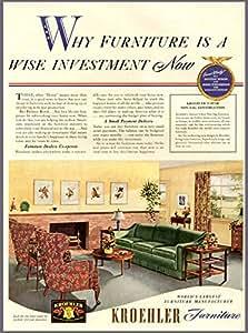 40 39 S Living Room Decor In 1942 Kroehler Furniture Ad Original Paper Ephemera