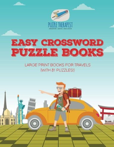 Easy Crossword Puzzle Books   Large Print Books For Travels  With 81 Puzzles