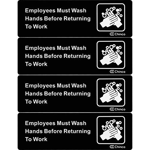 Chinco 4 Pieces Employees Must Wash Hands Before Returning to Work Sign Plastic Safety Informative Sign Acrylic White and Black Sign with Symbols for Office Hotel Restaurant, 9 by 3 Inch