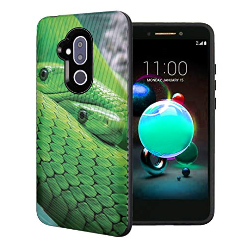 Capsule Case Compatible with T-Mobile Revvl 2 Plus, Alcatel 7 Folio, Alcatel 7 (2018) Metro PCS [Embossed Diagonal Lines Hybrid Dual Layer Slim Armor Case Black] - (Mamba - Snake Black Embossed