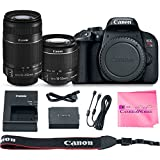 Canon EOS REBEL T7i Body SLR Digital Camera Value Bundle + Canon EF-S 18-55mm f3.5-5.6 IS II + Canon EF-S 55-250mm f4-5.6 IS Lenses + Camera Works Microfiber Cloth
